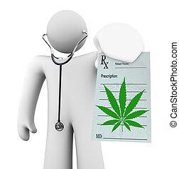prescrição, doutor, médico, -, marijuana, segurando