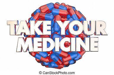 prescrição, ordens, ilustração, seu, tomar, doutores, medicina, pílulas, 3d