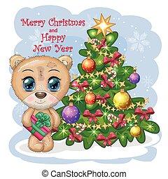 presente, árvore, urso, inverno, natal, cute, fundo, olhos grandes, pernas, caricatura