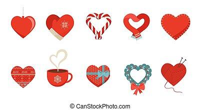 presente, cobrança, elementos, isolado, love., vermelho, corações, inverno, desenho, echarpe, ícones, natal, shapes:, diferente, white., apartamento, caixa, vetorial, assalte, mittens, candy., conceito