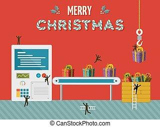 presente, fábrica, ilustração, criativo, cartão natal