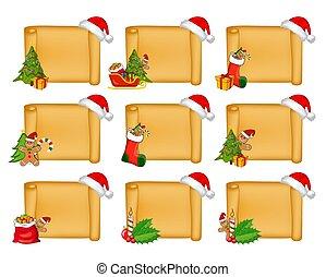 presente, jogo, chapéu, desejo, papel, card., árvore, santa, ornaments., lista, também, decoration., horizontais, vazio, fundo, ou, pergaminho, folha, papyrus, natal, bag., antigas, scroll