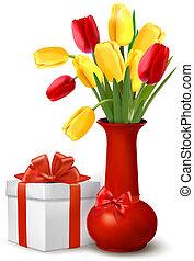 presente, vaso, flores, caixa