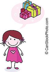 presentes, doodle, menina, feliz