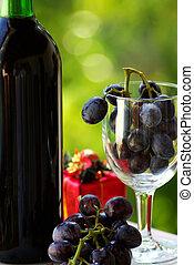 presentes., garrafa vinho, natal, decorado, vermelho