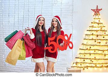 presentes, natal, maidens, jovem, neve