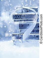 presentes, pilha, neve, prata, natal