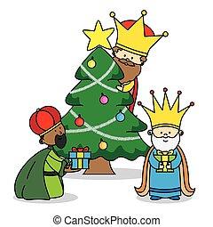 presentes, três, partindo, reis