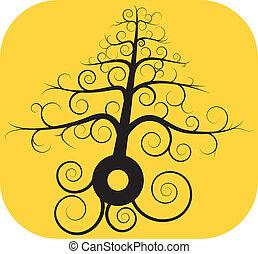 pretas, árvore, espiral