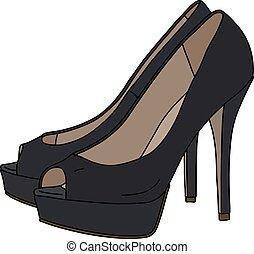 pretas, alto, sapatos, calcanhares