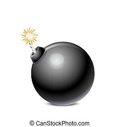 pretas, bomba, isolado