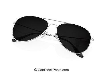 pretas, branca, óculos de sol, aviador