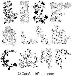 pretas, branca, jogo, ângulo, flores