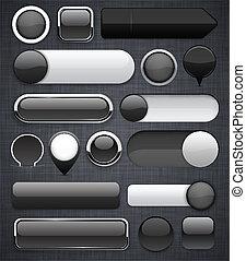 pretas, buttons., high-detailed, modernos