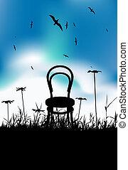 pretas, cadeira, silueta, prado, verão