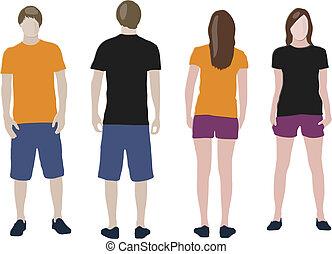 pretas, camiseta alaranjada