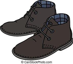 pretas, camurça, sapatos