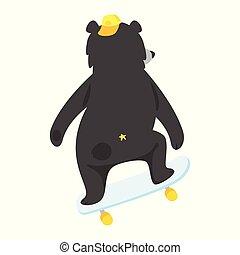 pretas, caricatura, urso, fresco