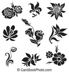 pretas, desig, folheia, jogo, flor