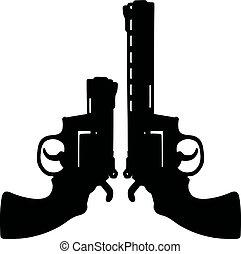 pretas, dois, revólveres