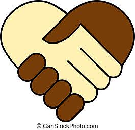 pretas, entre, abanar, mão, branca
