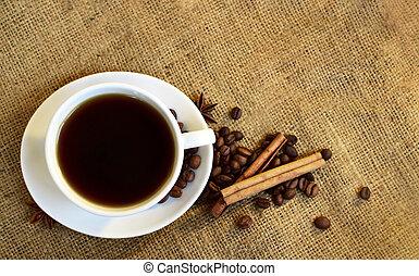 pretas, experiência., café, burlap, copo