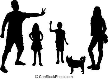 pretas, família branca, experiência., silueta
