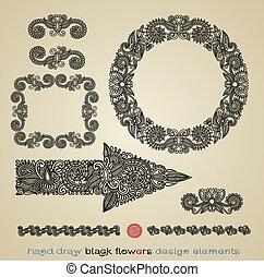 pretas, flor, projete elemento