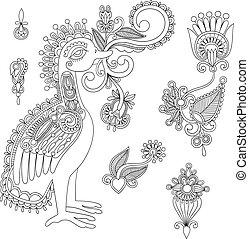 pretas, flores, desenho, pássaro, elemento