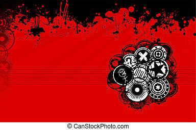 pretas, grunge, experiência vermelha