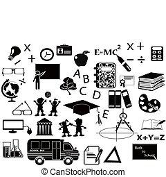 pretas, jogo, educação, ícone