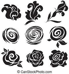 pretas, jogo, flor, rosa