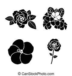 pretas, jogo, silueta, flor