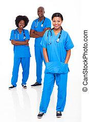 pretas, médico, grupo, trabalhadores