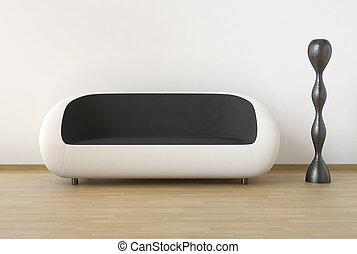 pretas, modernos, desenho, interior, branca