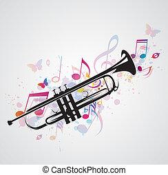 pretas, notas, trompete