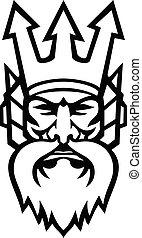 pretas, ou, cabeça, poseidon, deus, zangado, mar, branca, mascote, grego, netuno