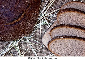 pretas, pão, burlap, experiência.