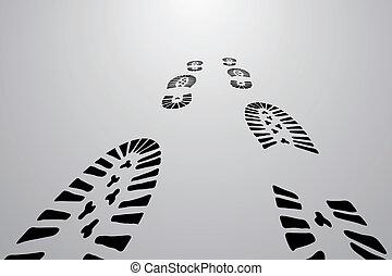 pretas, pés, rastros