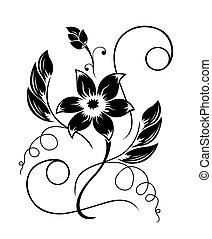 pretas, padrão, flor, branca