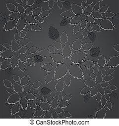 pretas, papel parede, folha, seamless, renda