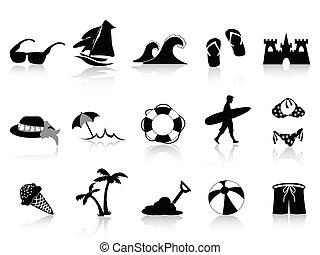 pretas, praia, ícone, jogo