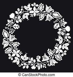 pretas, quadro, fundo, grinalda, branca, laurel, vetorial, floral