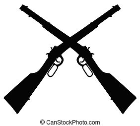 pretas, repetindo, dois, rifles, silhuetas
