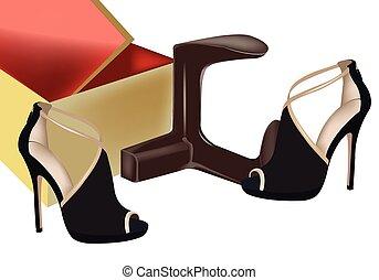 pretas, sapatos, femininas