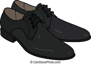 pretas, sapatos