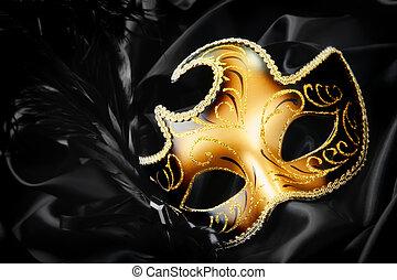 pretas, seda, máscara, fundo, carnaval