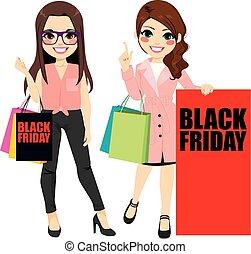 pretas, sexta-feira, meninas, moda