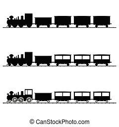 pretas, trem, vetorial, silueta, ilustração