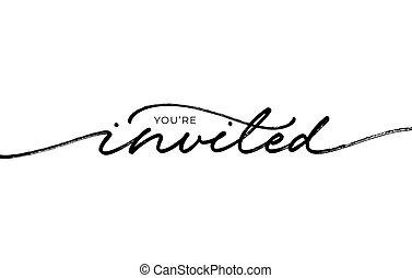 pretas, tu, calligraphy., elegante, convidado